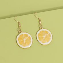 Girls Lemon Charm Drop Earrings