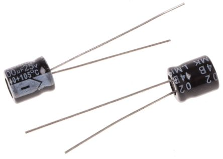 RS PRO 100μF Electrolytic Capacitor 25V dc, Through Hole (50)