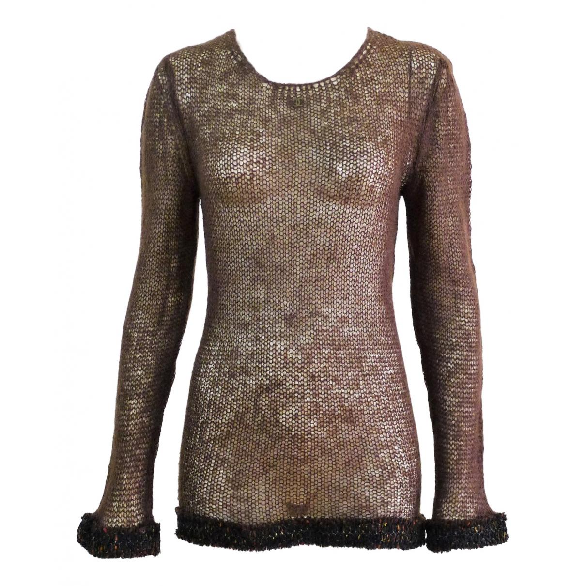Chanel - Pull   pour femme en laine - marron