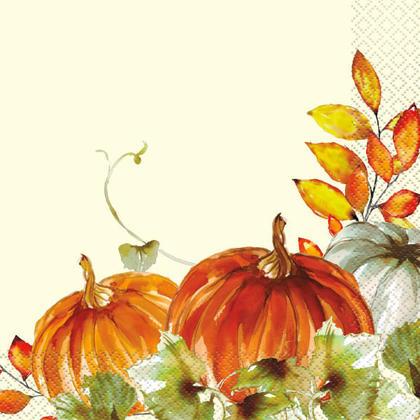 Thanksgiving Watercolor Pumpkins Fall Paper Luncheon Napkins, 16Pcs/Pack