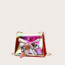Twilly Scarf Decor Holographic Satchel Bag