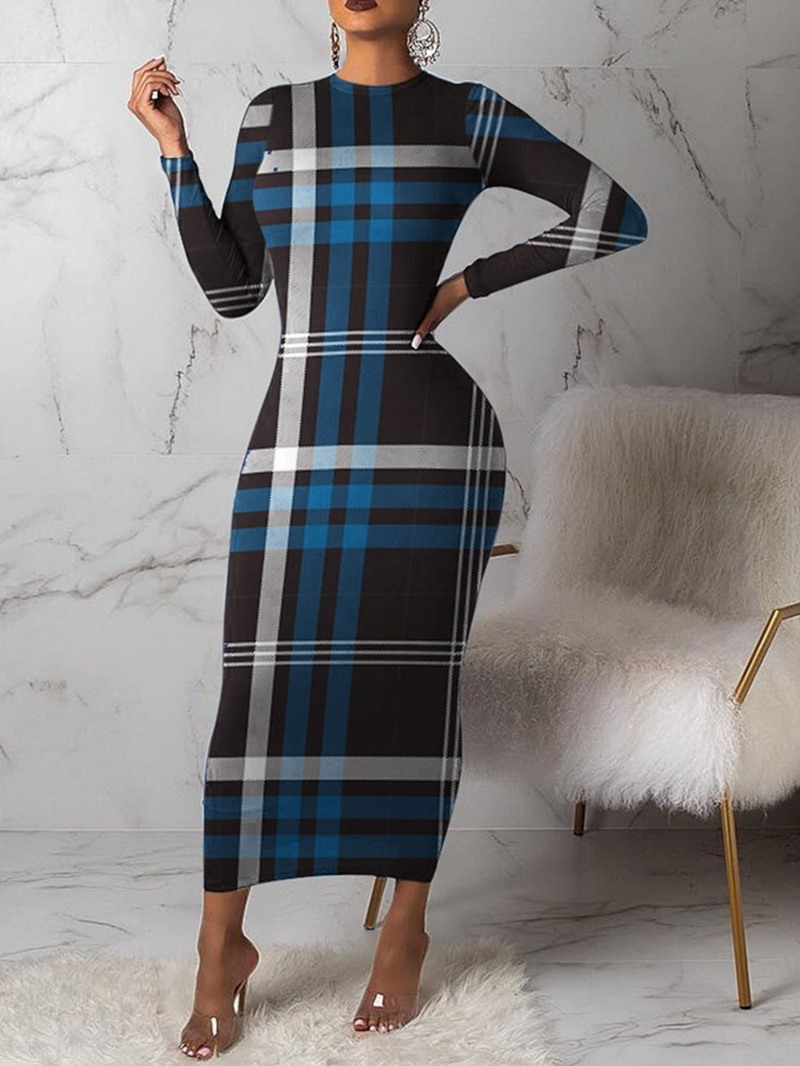 Ericdress Round Neck Mid-Calf Long Sleeve Regular Pullover Dress