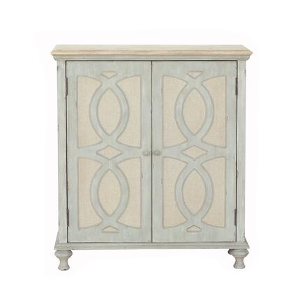 DS-D303-003 Wood and Fabric Two Door Accent Chest in Weathered