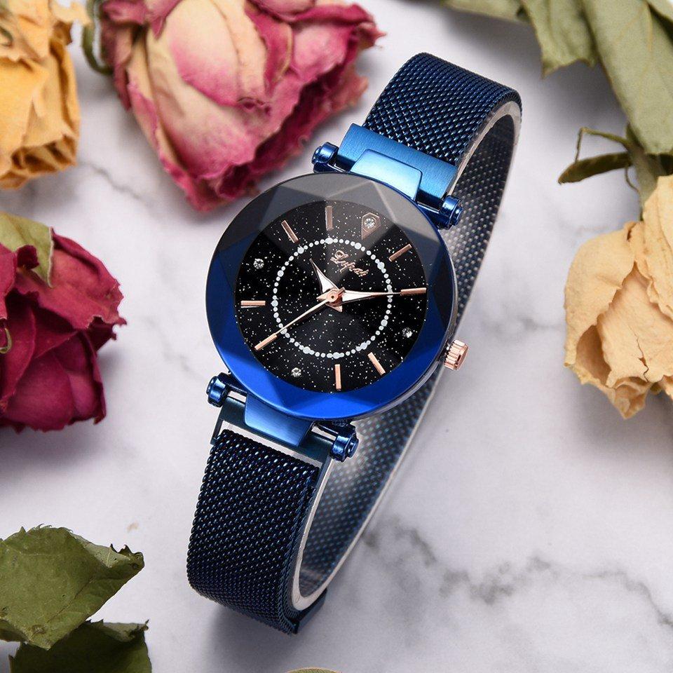 Star Dial Shining Unique Design Women Wrist Watch Full Steel Quartz Watches