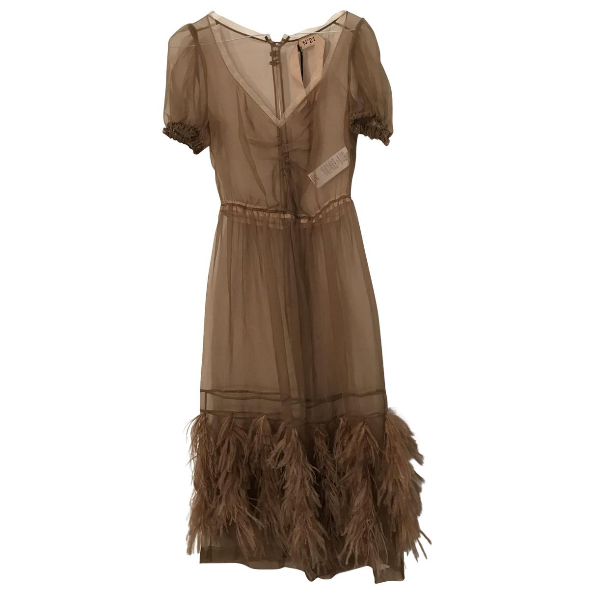 N°21 \N Camel Silk dress for Women 42 IT
