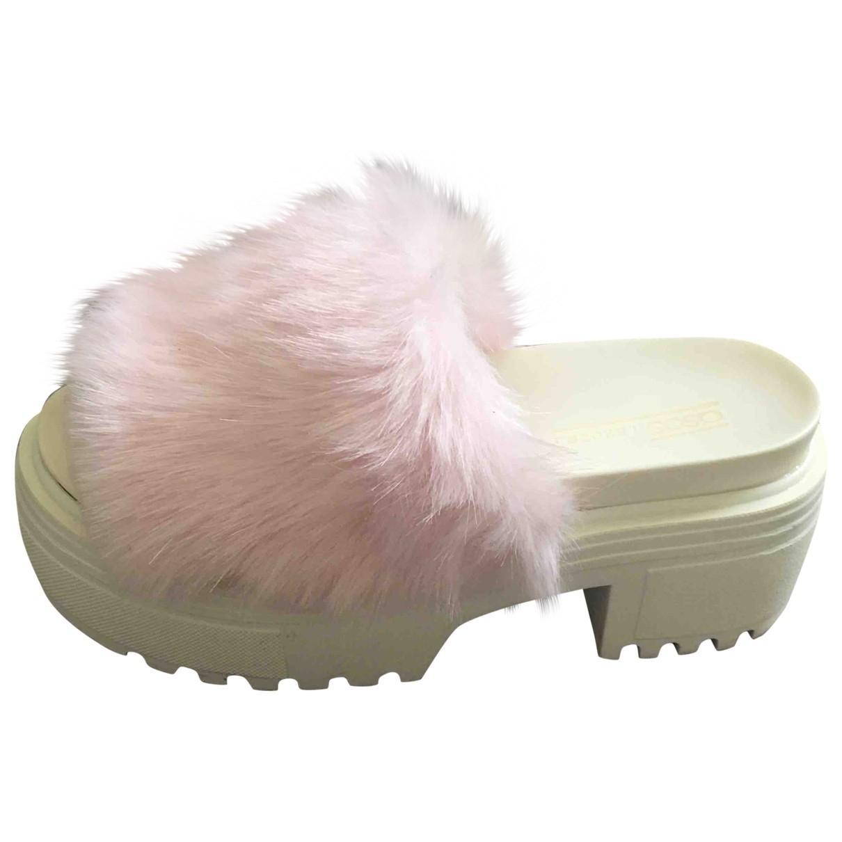 Asos - Sandales   pour femme en fourrure synthetique - rose