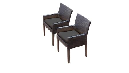 Belle Collection BELLE-TKC097b-DC-C-BLACK 2 Dining Chairs With Arms - Wheat and Black