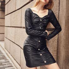 PU Leder Kleid mit Knopfen vorn und Ruesche