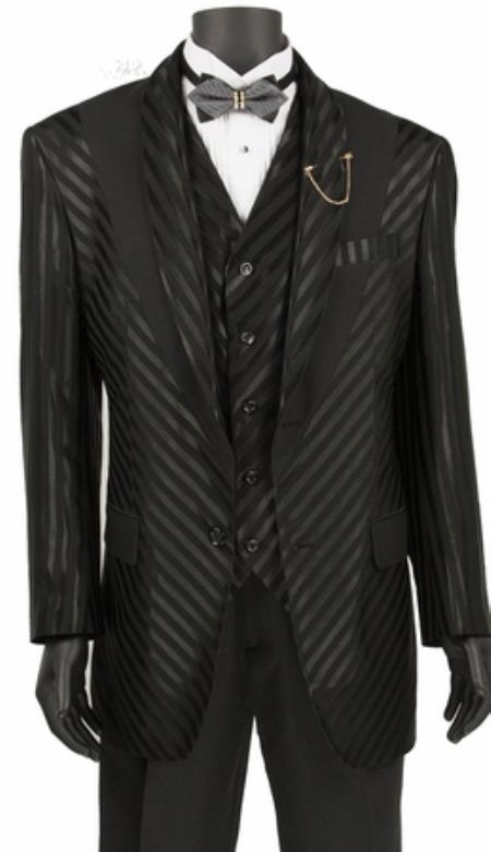 Mens Shiny Stripe 3 Piece Fashion Suit Black