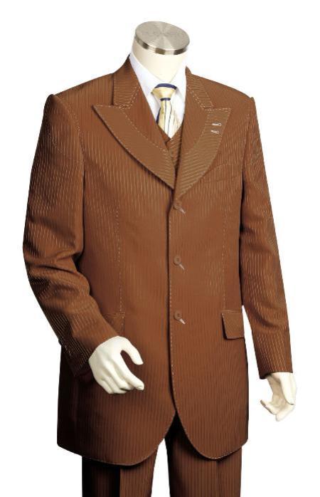 3 Piece 3 Button Brown Vested Suit Mens