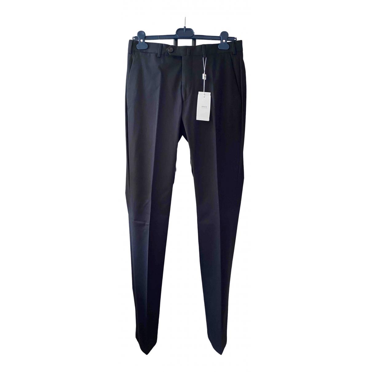 Armani Collezioni \N Black Cotton Trousers for Men 46 IT