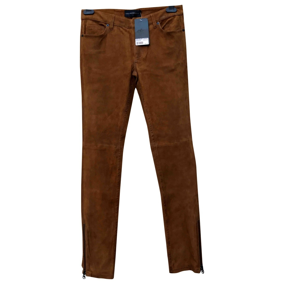 Zadig & Voltaire \N Camel Leather Trousers for Women 38 FR