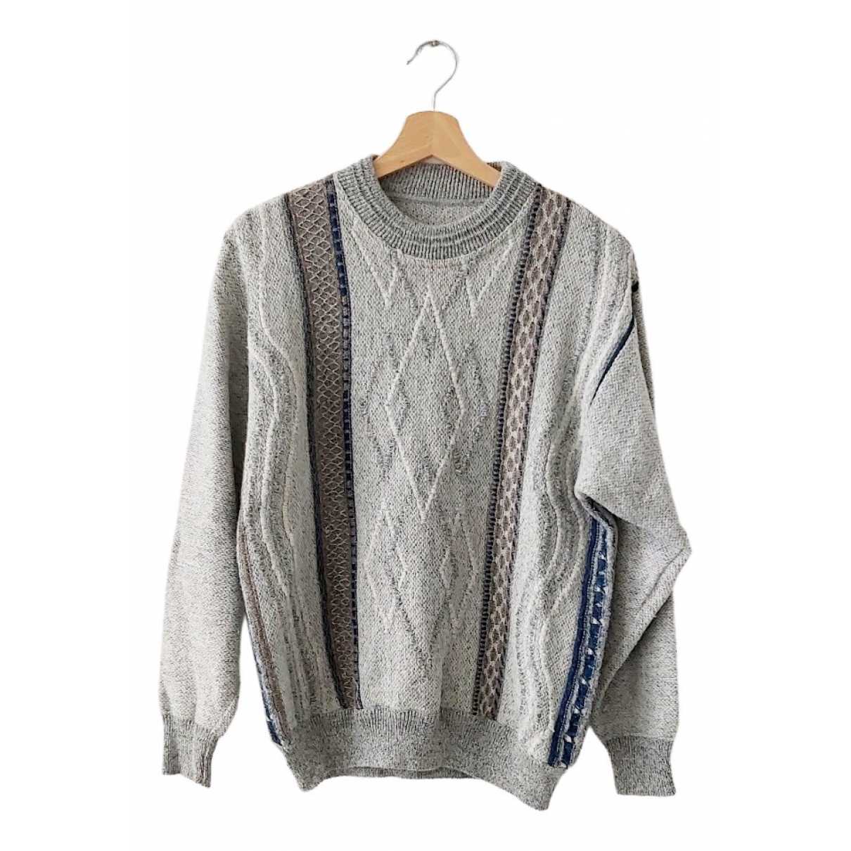 Non Signé / Unsigned Oversize Grey Wool Knitwear & Sweatshirts for Men M International