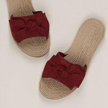 Bow Detail Band Jute Sole Slide Sandals
