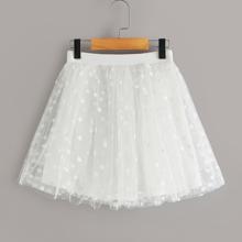Girls Elastic Waist Polka Dot Mesh Skirt
