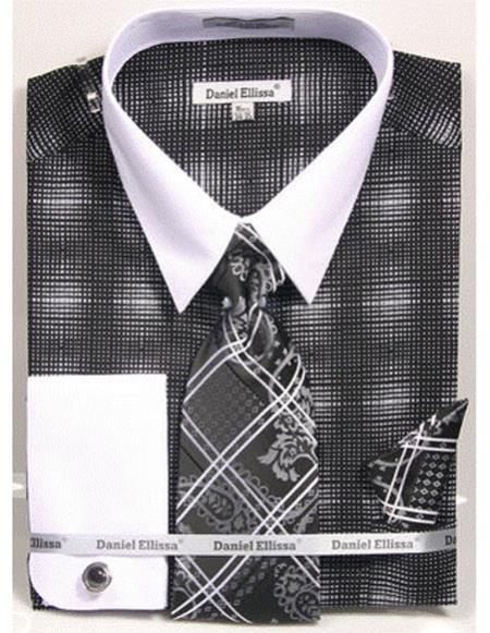 Mens white Collared French Cuffed Black woven design Shirt Tie/Hanky