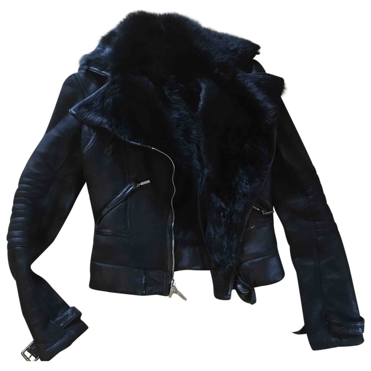 Gianni Versace \N Black Leather Leather jacket for Women 40 IT