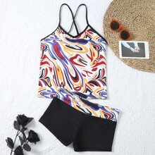 Abstract Pattern Shorts Bikini Swimsuit