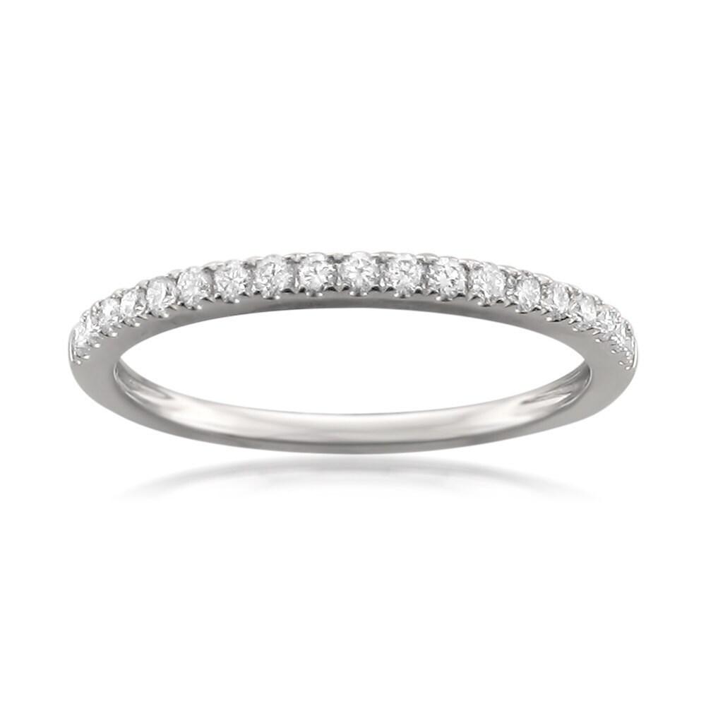 Montebello 14KT White Gold 1/4ct TDW Round-cut Diamond Wedding Band (9.5)