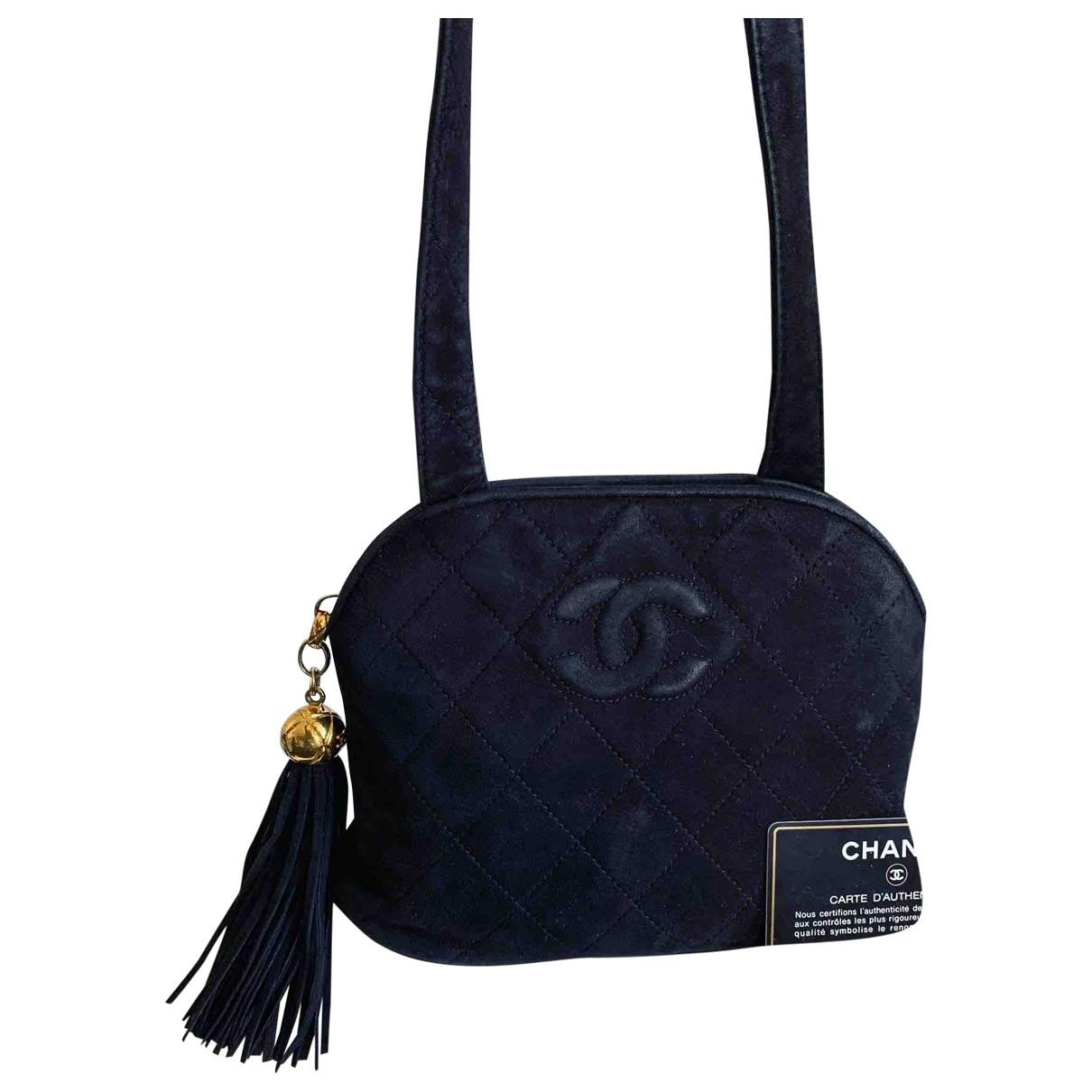 Chanel - Sac a main   pour femme en suede - noir