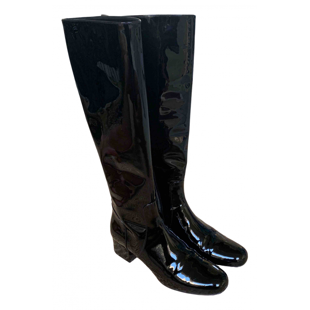 Saint Laurent N Black Patent leather Boots for Women 38.5 EU
