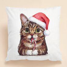 Kissenbezug mit Weihnachten Katze Muster ohne Fuellstoff