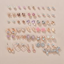 30 Paare Ohrringe mit Strass Dekor