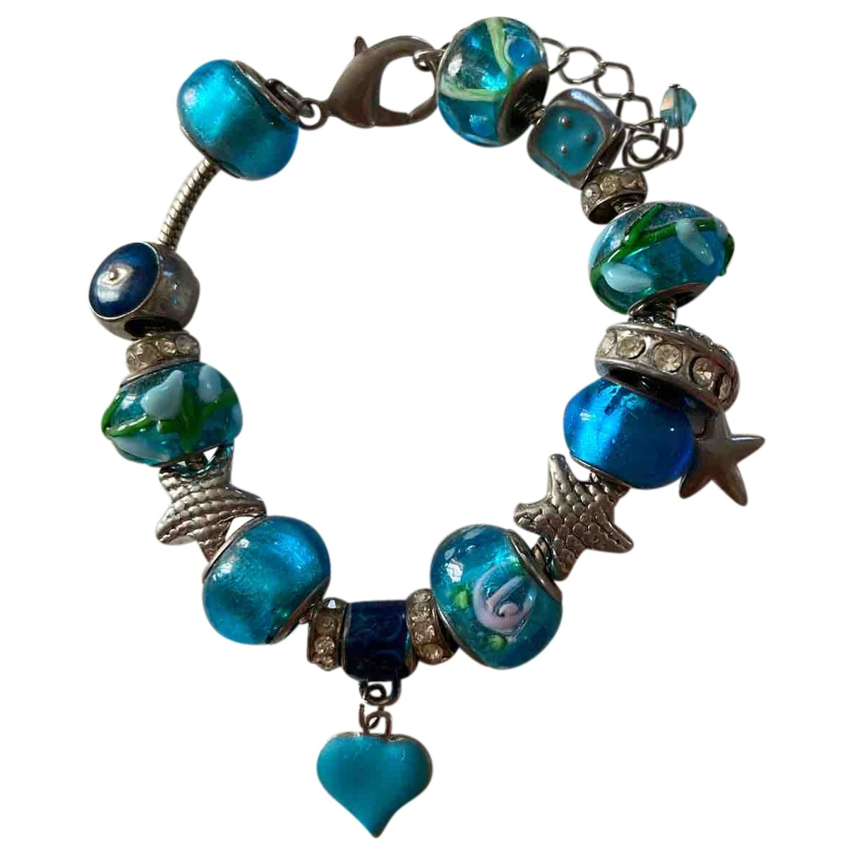 Non Signé / Unsigned Motifs Coeurs Turquoise Glass bracelet for Women \N