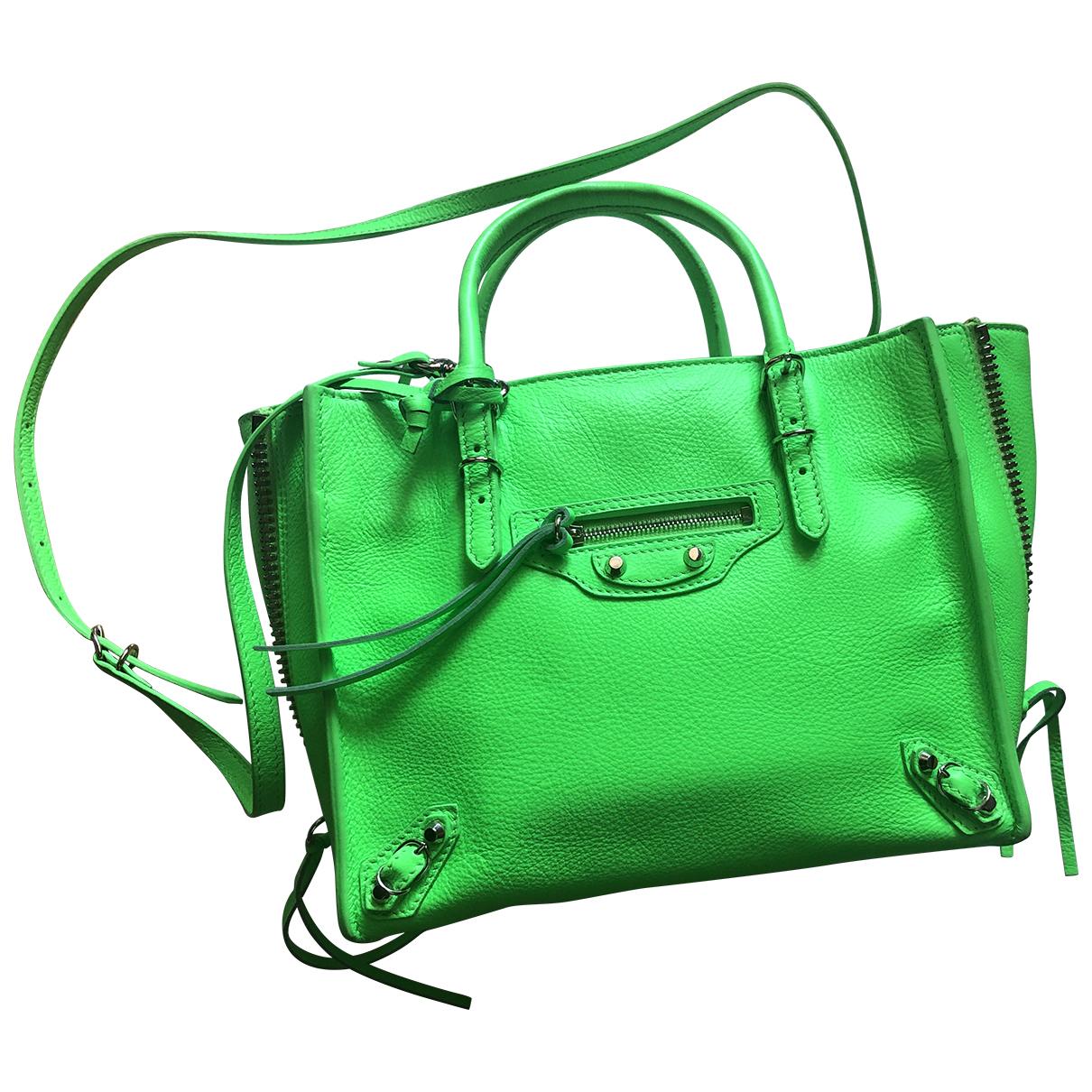 Balenciaga Papier Green Leather handbag for Women N