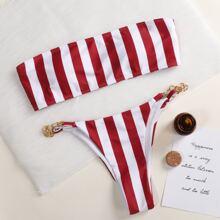 Bandeau Bikini Badeanzug mit Streifen und Kette
