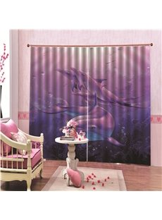 Thick Polyester 100% Blackout 3D Animal Print Curtains with Dreamlike Purple Dolphins Pattern