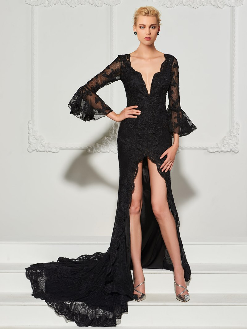 Ericdress Sheath Lace Split-Front V-Neck Evening Dress With Court Train