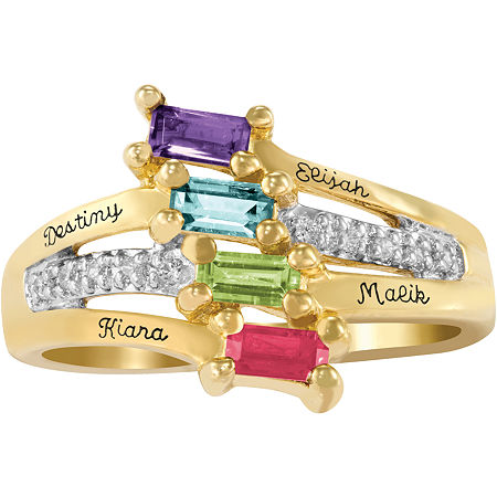 Artcarved Celebrations Of Life Multi Color Stone 10K Gold Band, 10 1/2 , No Color Family