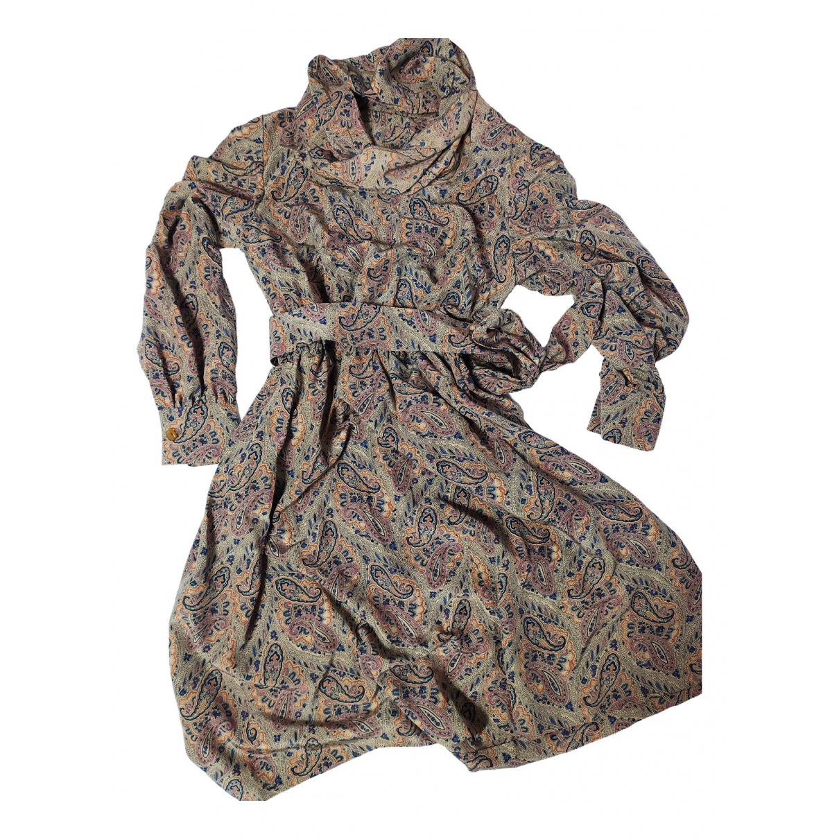 Non Signe / Unsigned Hippie Chic Kleid in  Beige Baumwolle
