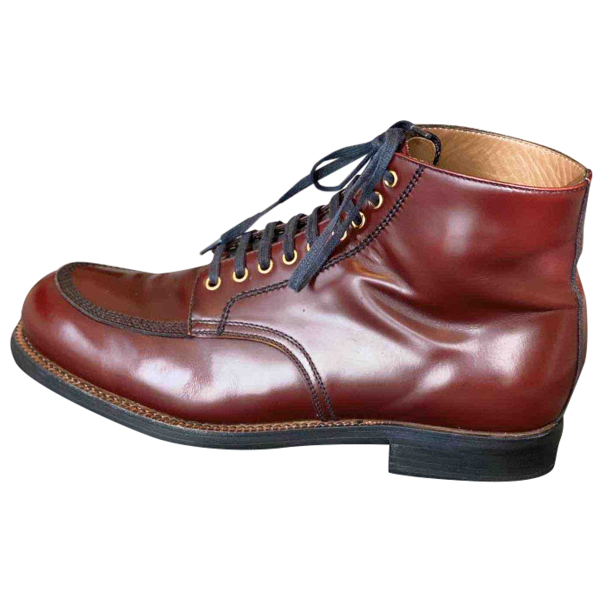Prada \N Burgundy Leather Boots for Men 9.5 UK