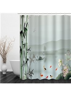 3D Bamboos and Lotus in Fog Pattern Polyester Waterproof and Eco-friendly Shower Curtain