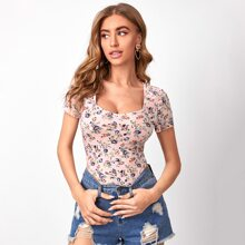 Square Neck Floral Print Top