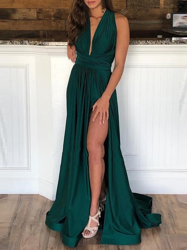 Ericdress Floor-Length Halter Sleeveless Sweep Evening Dress