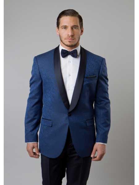 Mens Indigo Blue Tuxedo Floral Satin Shiny Black Lapel 2 Toned Blazer