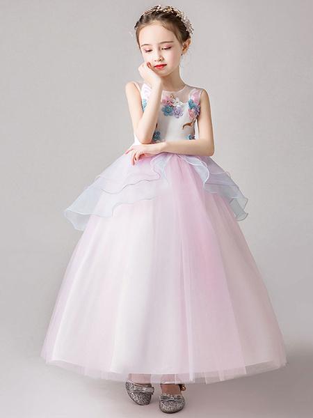 Milanoo Vestidos de niña de flores Cuello joya Flores sin mangas Vestidos de fiesta para niños