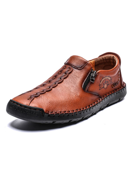 Milanoo Mens Loafers Shoes Cosy PU Leather Chains Slip-On Shoes