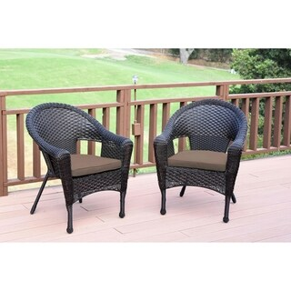 Set of 2 Resin Wicker Clark Single Chair with Tan Cushion (Brown)