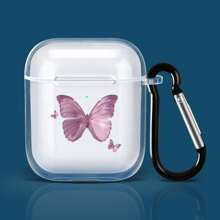 Butterfly Print Clear Airpods Case