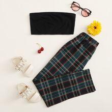 Girls Rib-knit Crop Tube Top and Tartan Pants Set