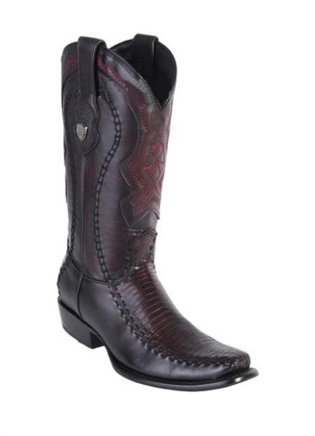 Men's Teju Lizard Deer Skin Toe Wild West Boots Handmade Black Cherry