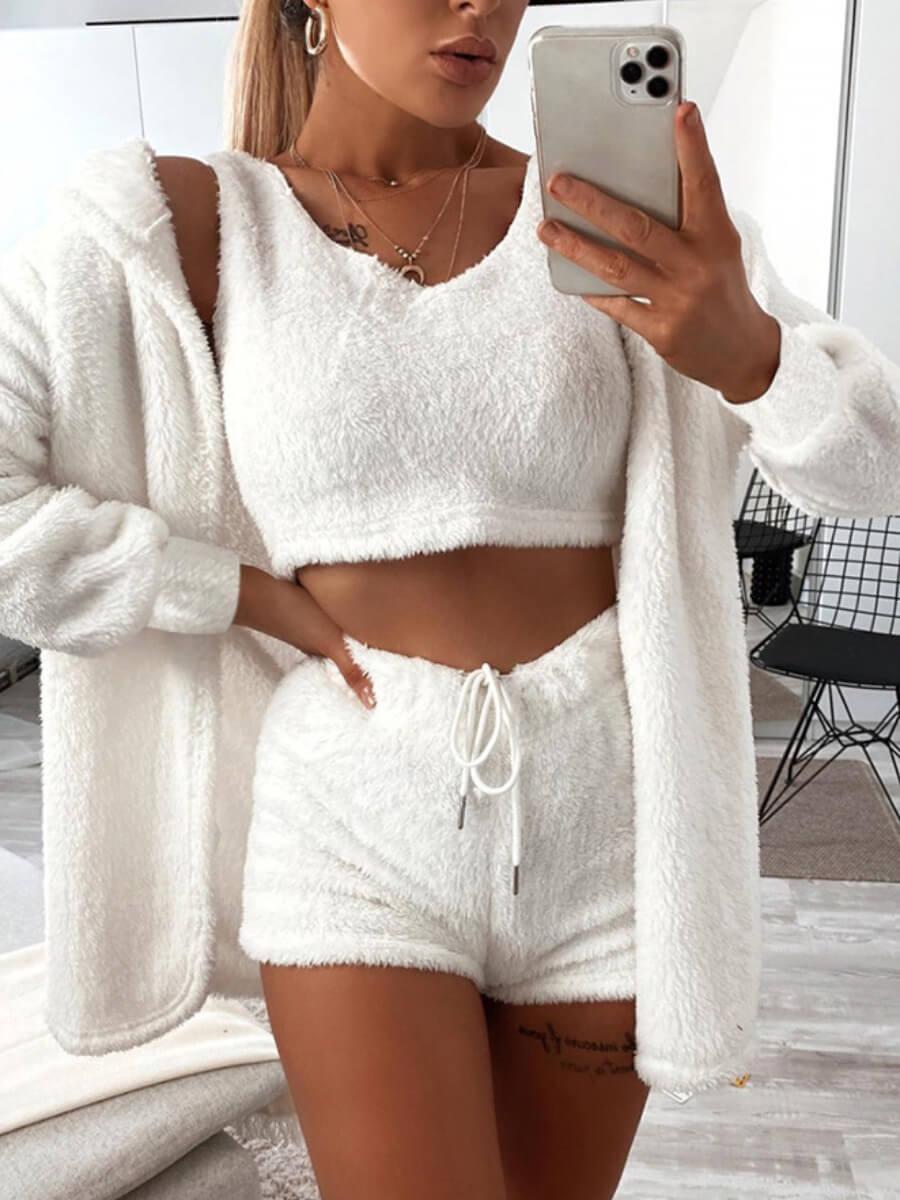 LW Lovely Casual V Neck Skinny White Sleepwear