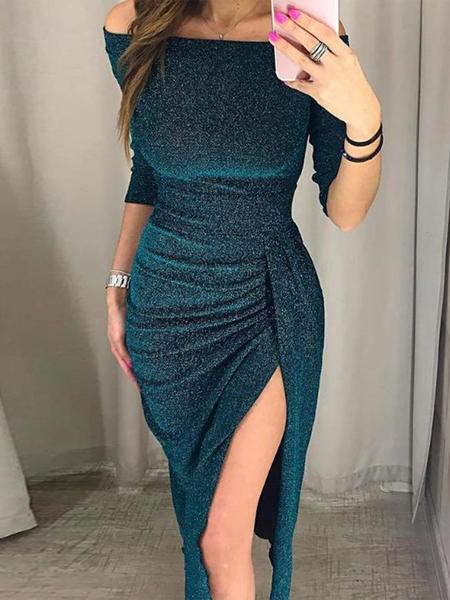 Yoins Blue Off The Shoulder Half Sleeves Ruched Glitter Dress
