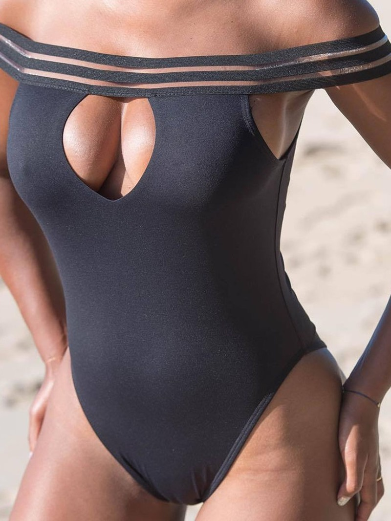 Ericdress Patchwork Off-Shoulder Hollow Sexy Swimwear