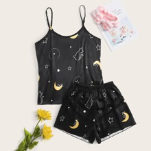 Cat And Moon Graphic Cami & Shorts PJ Set