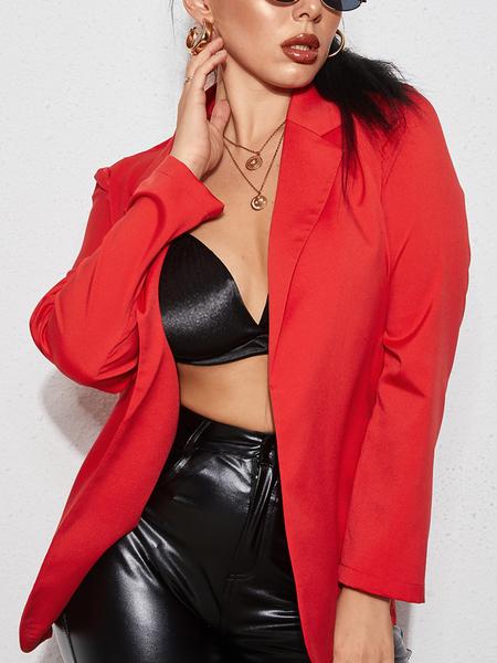 YOINS Red Elegant Lapel Collar Long Sleeves Blazer
